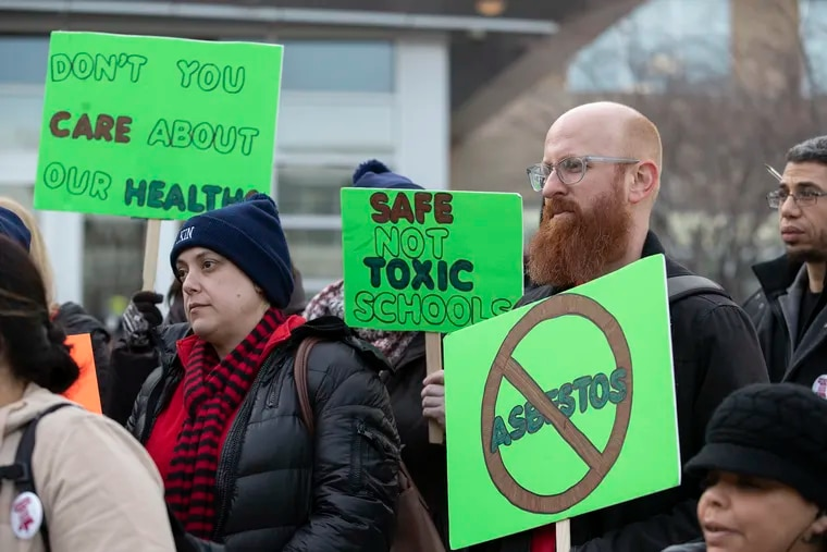 School teachers from Franklin Learning Center, McClure Elementary, and Elkin Elementary rallied outside of the School Distict of Philadelphia's building on Jan. 30, 2020 about asbestos issues in their schools. Elie Gottlieb, a teacher at Elkin Elemntary is right.