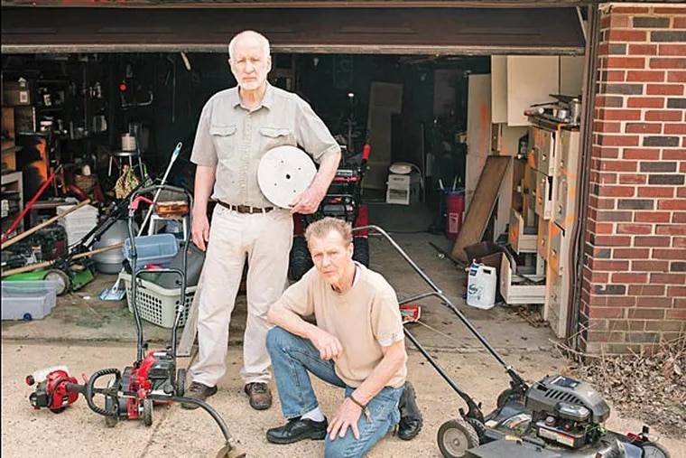 Dennis Gesker (standing) and Bruce Packer are seeking a patent for a machine that would combine the functions of a lawn mower, edger, and weed whacker. Sunday, April 13, 2014, Philadelphia, Pennsylvania. ( Matthew Hall / Staff Photographer )
