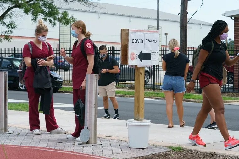 Temple nursing students wait at the COVID19 testing site at Temple University where classes started today, Monday, August 24, 2020.