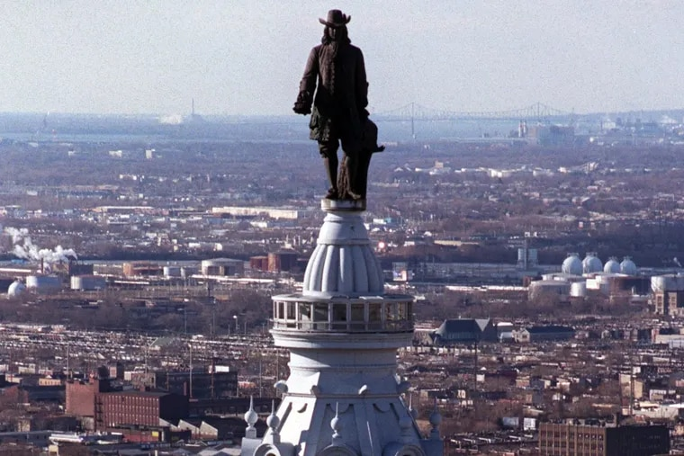 The William Penn statue atop City Hall.