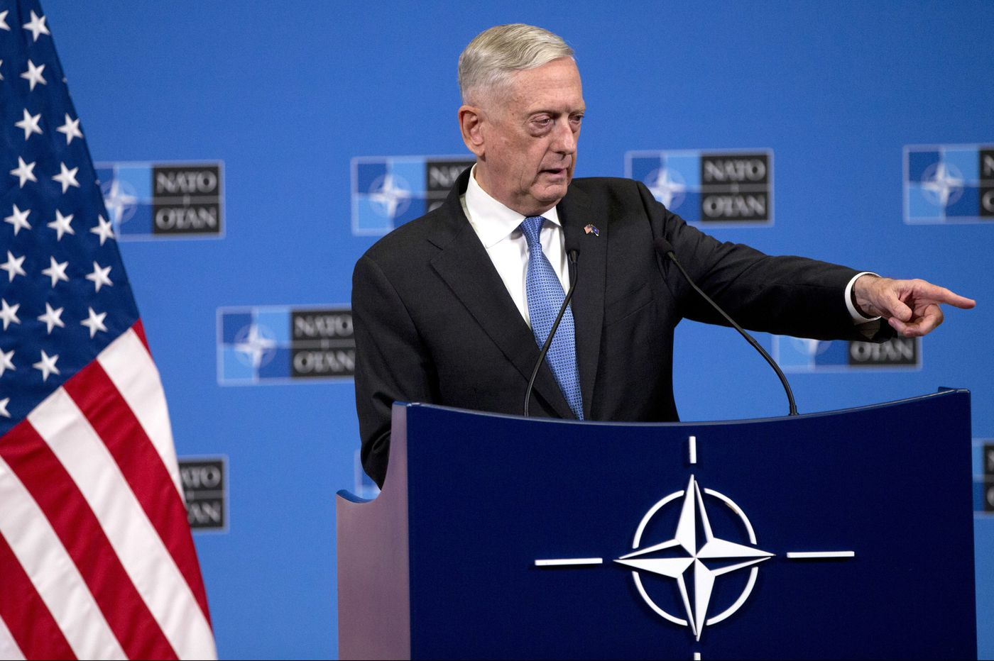 Defense Secretary Jim Mattis strives to be a reassuring voice to allies in a chaotic time