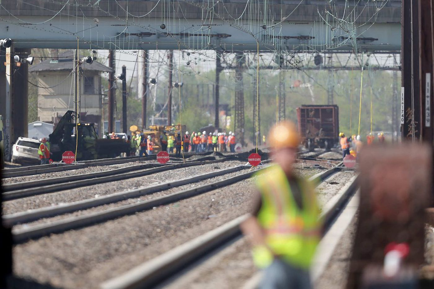 Work to repair Northeast Corridor tracks damaged in derailment could take up to month, officials say
