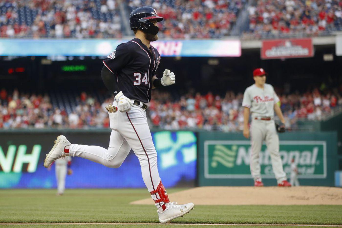 Bryce Harper, Nationals make short work of Nick Pivetta in Phillies' loss