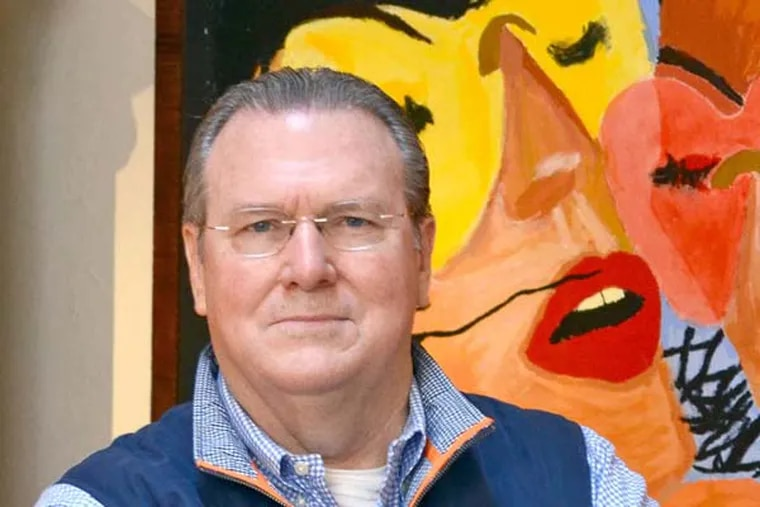Richard Vague, a tech venture capitalist considering a run for president, in his Rittenhouse Square home in September 2013, in front of a painting by his daughter Lauren.