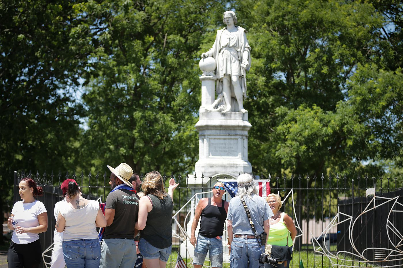 For second day, group 'protects' Christopher Columbus statue in South Philadelphia; mayor denounces 'vigilantism'