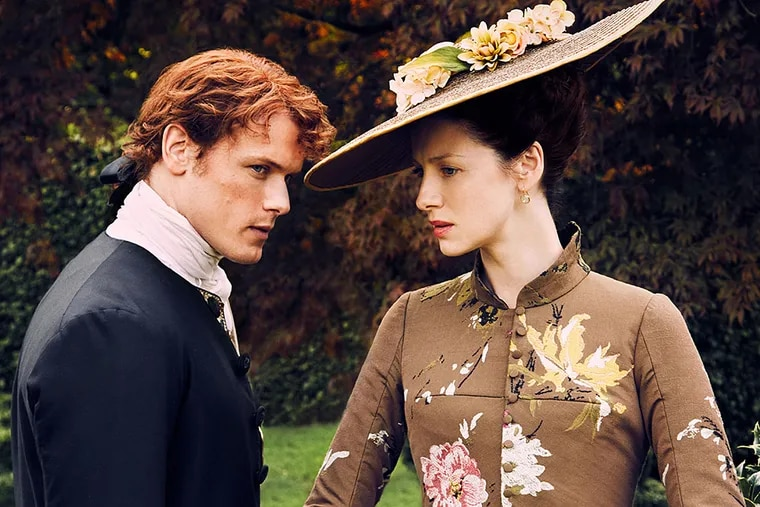 """Sam Heughan and Caitriona Balfe's characters move to France in the second season of """"Outlander,"""" which launches Saturday on Starz."""