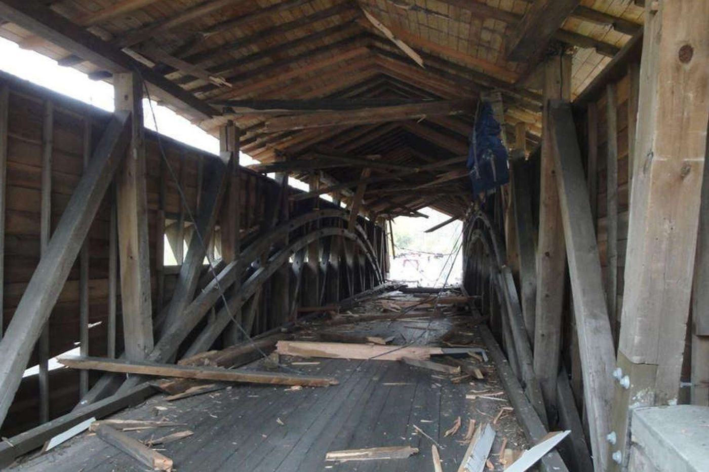 Tractor-trailer smashes historic Chesco covered bridge