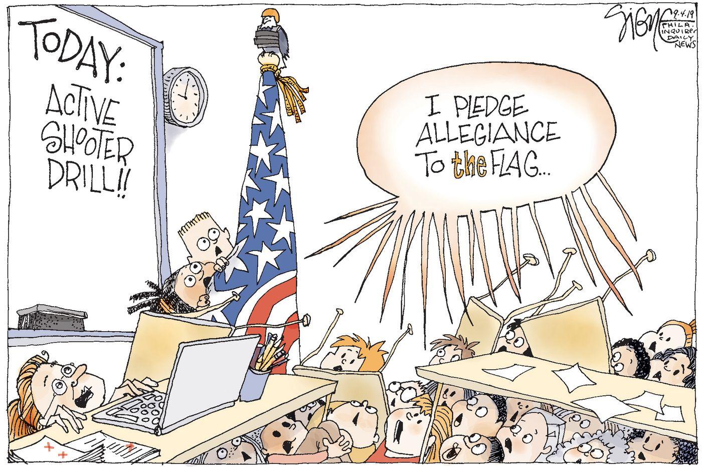Political Cartoon: Elementary active shooter drill