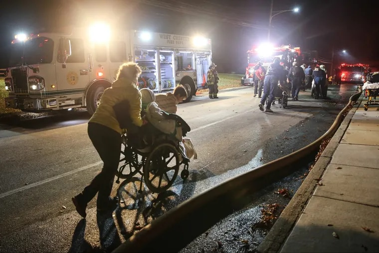 The blaze at the Barclay Friends Senior Living facility in West Chester forced the evacuation of  residents, many in wheelchairs.