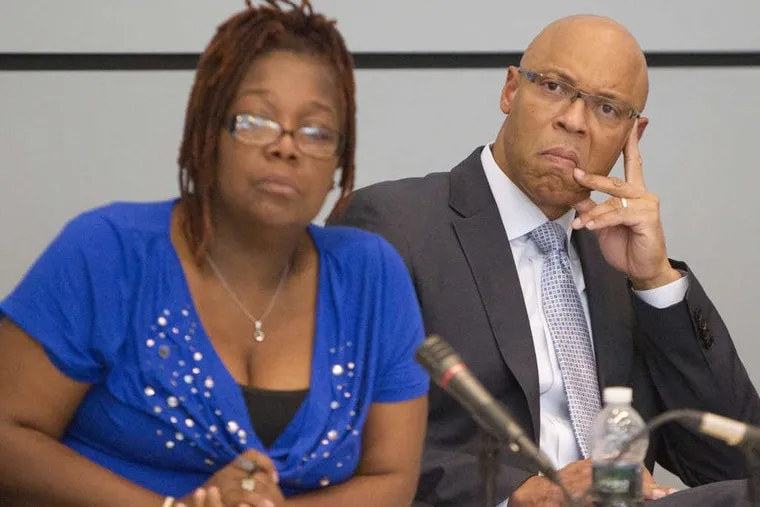Sylvia Simms with Superintendent William R. Hite Jr. before she left the School Reform Commission.