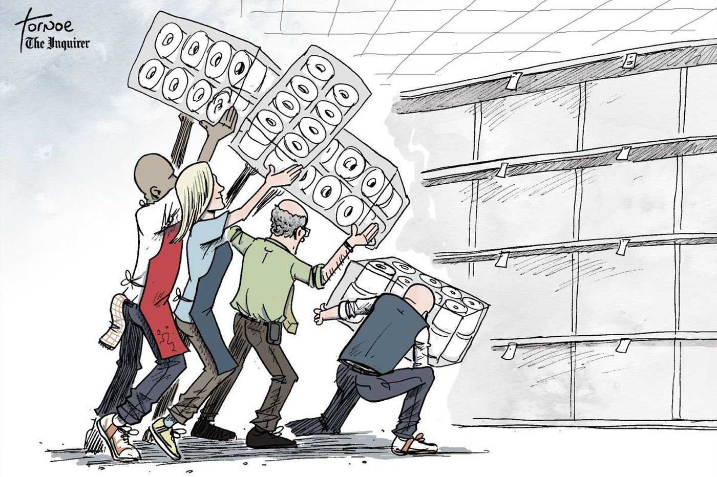Coronavirus cartoon: Grocery store workers are on the front lines, too