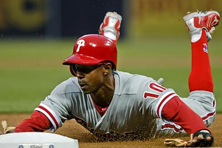 Juan Pierre is hitting .313 this season, his first with the Phillies. (Lenny Ignelzi/AP)