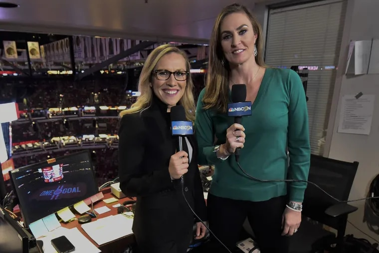 NBC Sports Philadelphia has hired Kate Scott (left) as its new Sixers play-by-play announcer, replacing the retiring Marc Zumoff. Scott is seen here next to A.J. Mleczko  during an NHL game in March 2020.