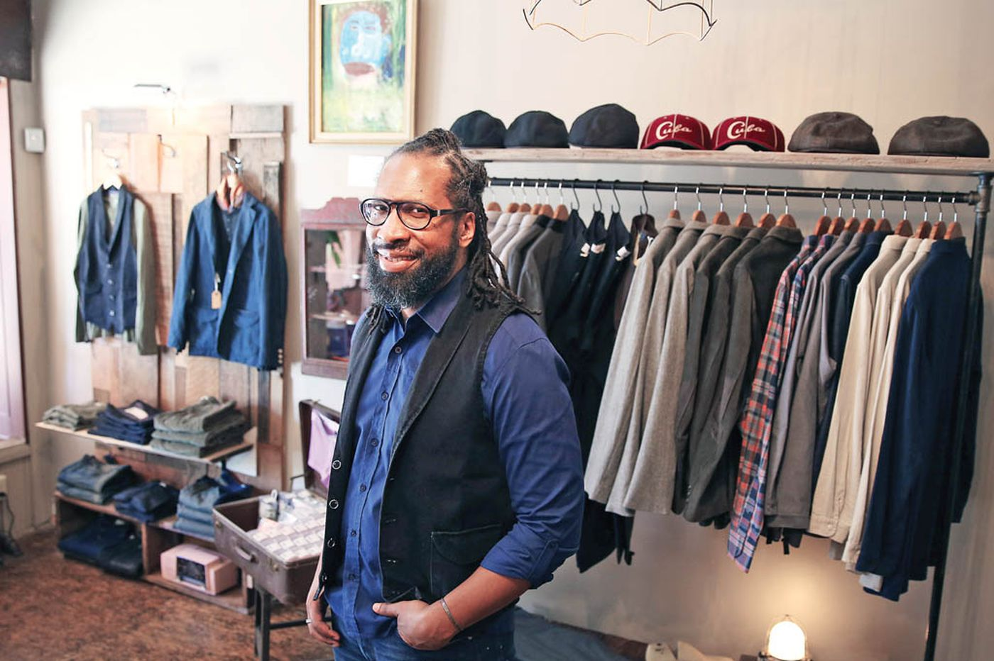 Stylish men's threads complemented by local art