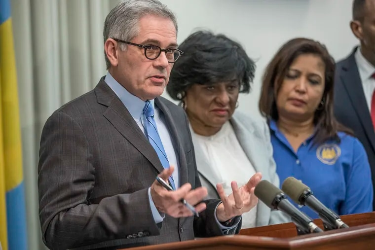 Philadelphia District Attorney Larry Krasner, left, announces end to cash bail in Philadelphia for low-level offenses, with City Councilwomen Jannie Blackwell, center and Maria D. Quinones-Sanchez, right, by his side, on February 21,2018. MICHAEL BRYANT / Staff Photographer