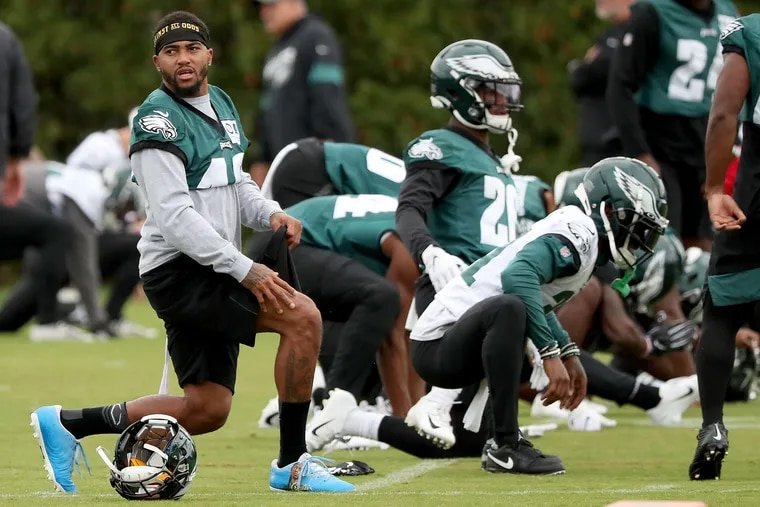 Eagles wide receiver DeSean Jackson, left, warms up as the Philadelphia Eagles practice at the NovaCare Complex in Philadelphia, PA on October 31, 2019. The Eagles are preparing for the visiting Bears on Sunday.