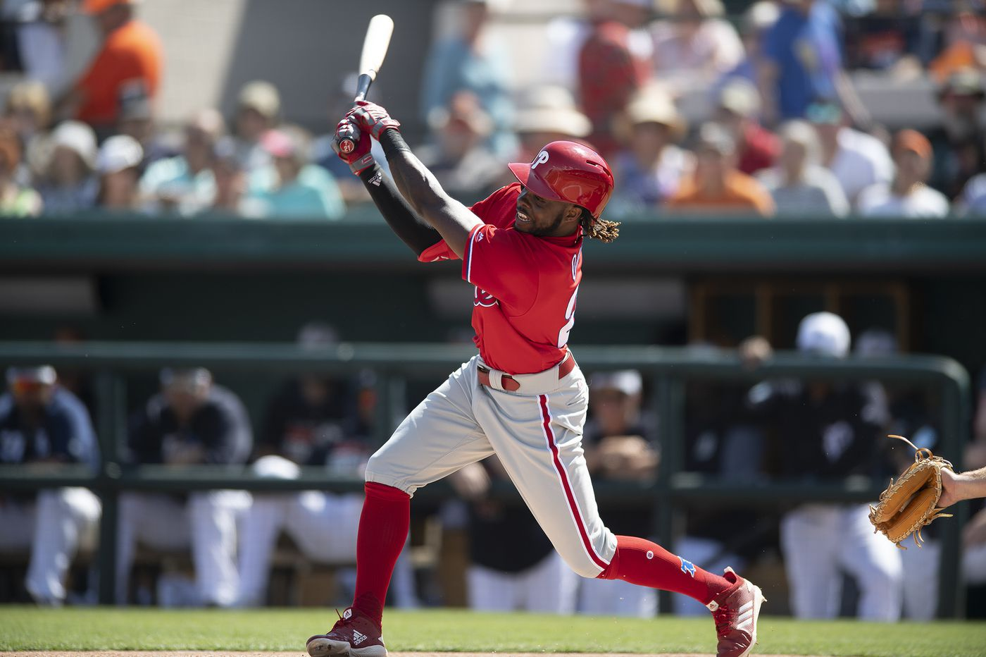 Phillies' Roman Quinn feels some discomfort after getting hit by a pitch in a rehab game
