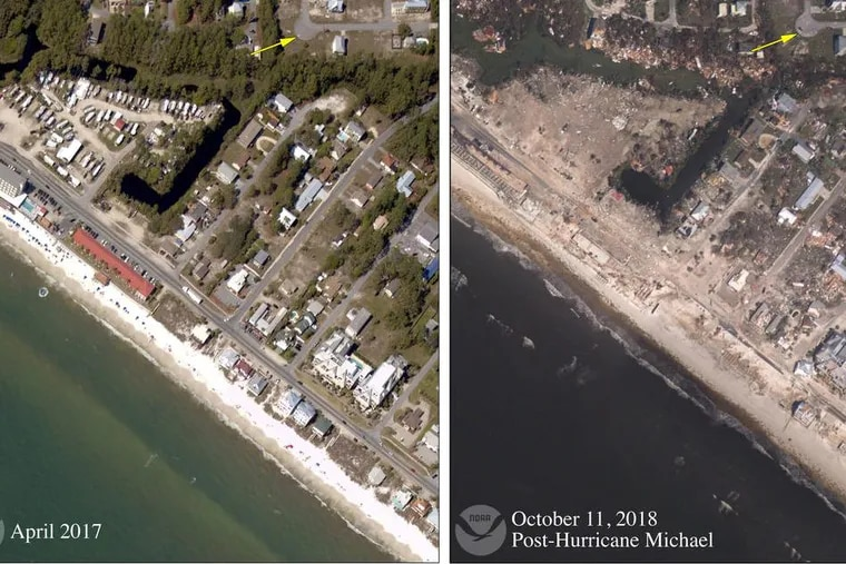 Before-and-after Hurricane Michael photos of Mexico Beach, Fla.