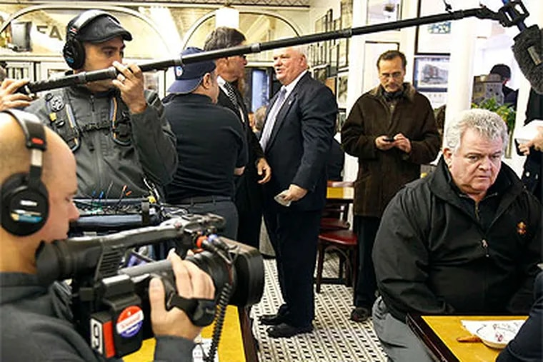 A camera crew hovers around U.S. Rep. Bob Brady Tuesday at Famous 4th Street Deli. (David Maialetti / Staff Photographer)