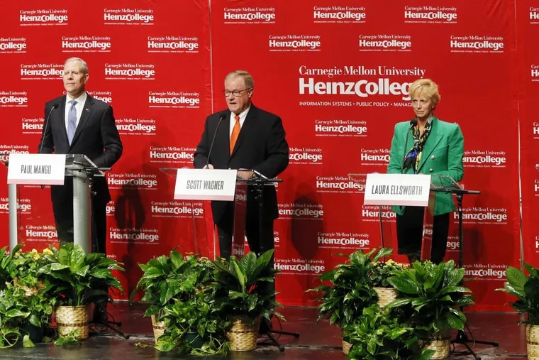 Seeking the Republican Party's nomination to challenge Democratic Gov. Tom Wolf, left to right, Paul Mango, State Sen. Scott Wagner and Laura Ellsworth, participated in a January debate in Pittsburgh.