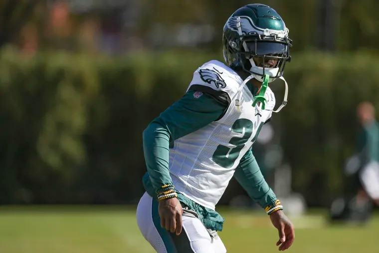 Eagles cornerback Jalen Mills stretches during practice at the NovaCare Complex. He'll make his second start of the season Sunday in Buffalo against the 5-1 Bills.