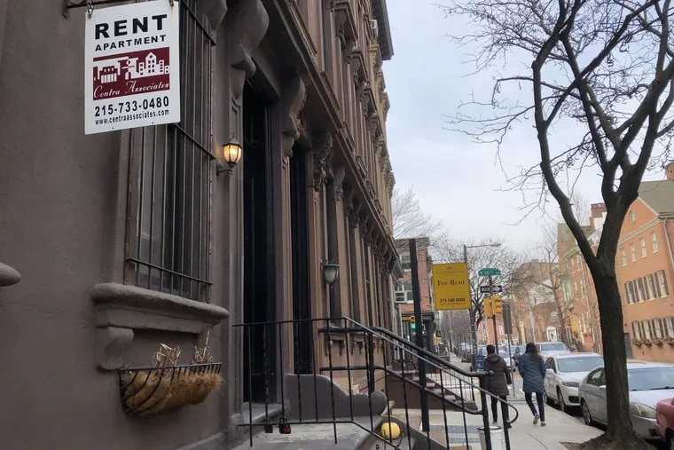 Property owners advertise homes for rent in Center City.