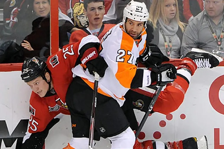 The Flyers are now 19-2-1 when they carry a lead into the third period. (Sean Kilpatrick/Canadian Press/AP)