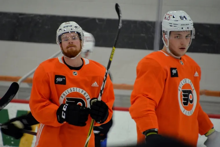 David Kase (left) and Maksim Sushko (right) are expected to be in the Flyers' makeshift lineup Thursday.
