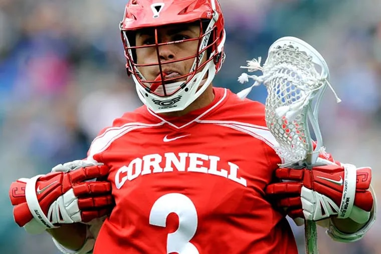 Cornell's Rob Pannell celebrates after scoring a goal in the first half of an NCAA division 1 semifinal lacrosse game against Duke on Saturday, May 25, 2013, in Philadelphia. (Michael Perez/AP)