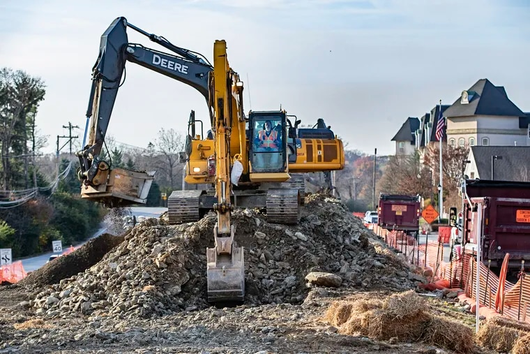 Heavy construction vehicles move earth near the Valley Square Shopping Center to make way for the Mariner East Pipeline that will run through Chester County in residential and commercial areas. The pipeline is continuing to be constructed in Delaware and Chester Counties by Sunoco Energy Transfer Partners, much to the consternation of many of the residents of the area.