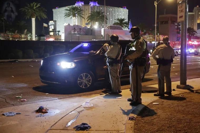 Las Vegas Police at the scene of the massacre along the Las Vegas Strip.