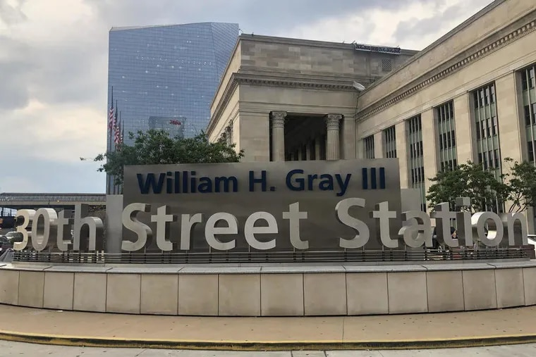 Amtrak's Philadelphia train station has a new sign renaming the station after the late congressman, William H. Gray III.