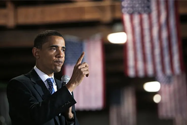Sen. Barack Obama, speaking in Watertown, S.D., signaled he was ready to challenge Republicans on foreign policy.