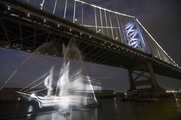 A 'ghost ship' visits Philly, parking under the Ben Franklin Bridge
