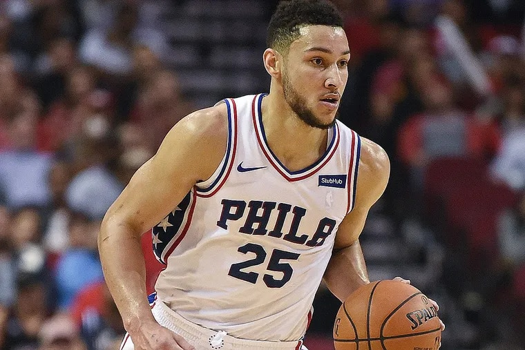 Philadelphia 76ers guard Ben Simmons dribbles upcourt during the second half of an NBA basketball game against the Houston Rockets, Monday, Oct. 30, 2017, in Houston. Philadelphia won 115-107.