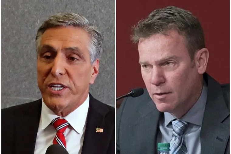 Pennsylvania Republican gubernatorial candidate Lou Barletta, left, and State Sen. Dan Laughlin, right, who's considering a run for governor. Barletta is warning the U.S. might not be able to adequately vet Afghan refugees, while Laughlin is emphasizing America's obligation to them.