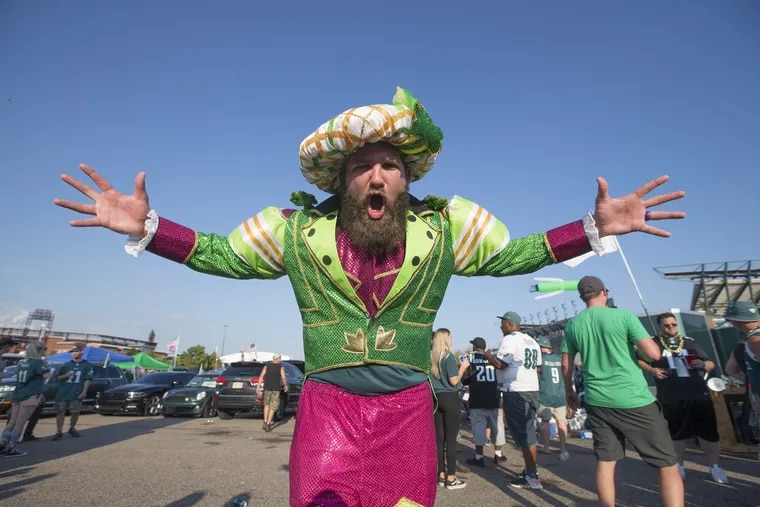 Brennen Dickerson does his best Jason Kelce imitation while tailgating at Lincoln Financial Field Sept. 6.