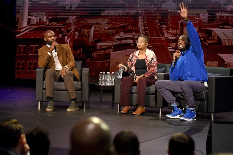The Players Coalition, a nonprofit co-founded by Eagles safety Malcolm Jenkins (left) hosted a public forum to discussing how to reform policing in Philadelphia. Panelists included rapper Meek Mill (right) and Rev. Leslie D. Callahan, pastor at St. Paul's Baptist Church.