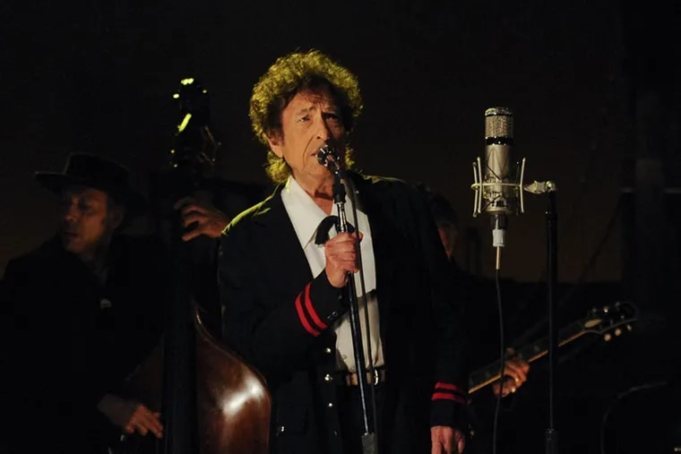 """Bob Dylan performs on the """"Late Show with David Letterman"""" in 2015."""