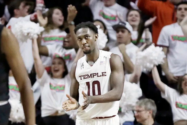 Temple's Shizz Alston Jr. claps as the game comes to a close during the Southern Methodist at Temple University men's basketball game at Temple's Liacouras Center in  Phila., Pa. on February 13, 2019.