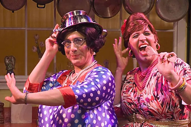 Jay Falzone (left) portrays Delphine, sister to Carmella - Stephen Smith - and together they are the Calamari Sisters, whose comedy-musical run has been extended to March.