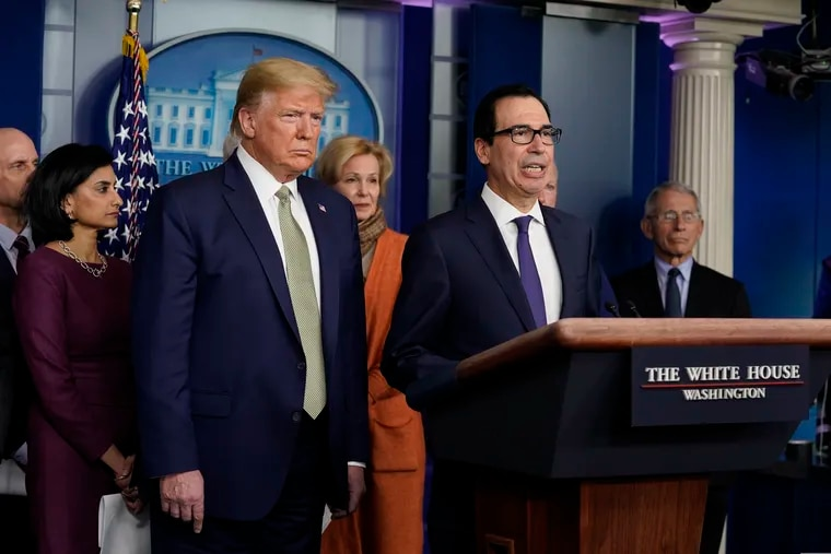 Treasury Secretary Steven Mnuchin speaks during a press briefing with the coronavirus task force at the White House on Tuesday.