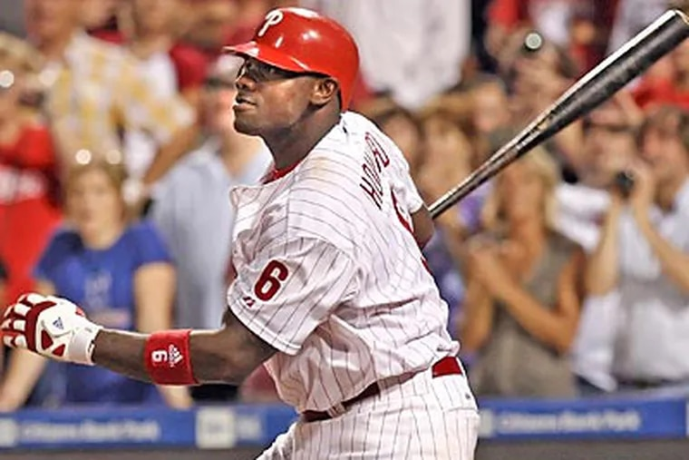 Ryan Howard fielded ground balls yesterday before the Phillies game against the Dodgers. (Steven M. Falk / Staff file photo)