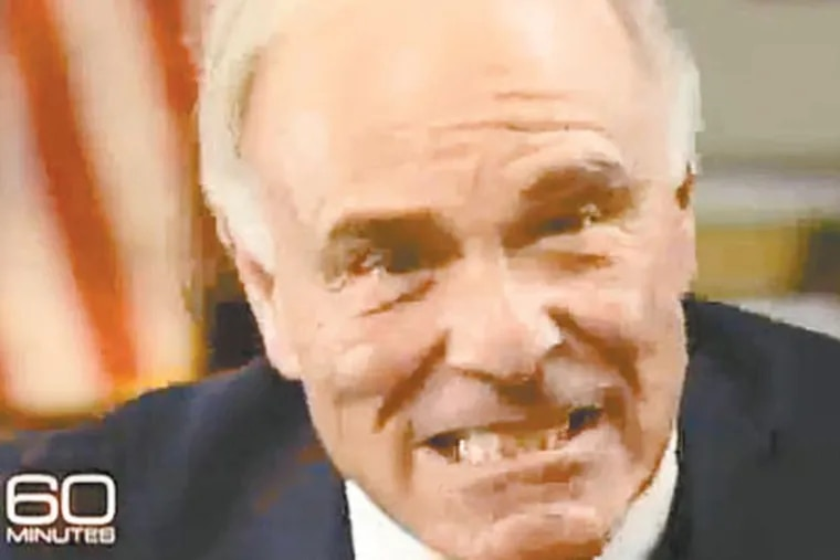 This still image of Ed Rendell is from an interview the outgoing Pennsylvania governor did with Leslie Stahl of 60 Minutes that will be televised Sunday.