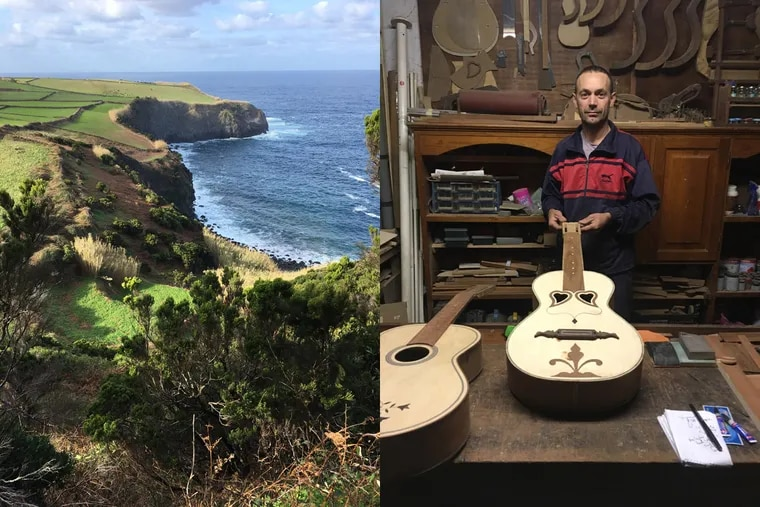 At left, the north coast of Terceira Island in the Azores. Right,  Antonio Mota, in his workshop, with the Azorean guitars he makes. He is the last guitar maker on Terceira.     (Photo: David Patrick Stearns)
