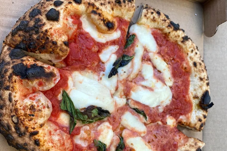 A Neapolitan pizza from Joe Cicala's wood-fired oven.