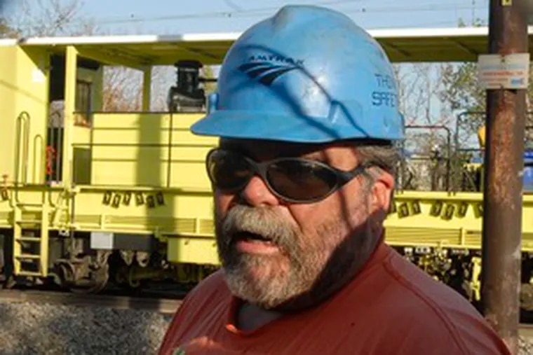"""Brian Bogarde, a union track repairman from Morrisville, Bucks County. He called the lack of a contract """"a little disheartening."""""""