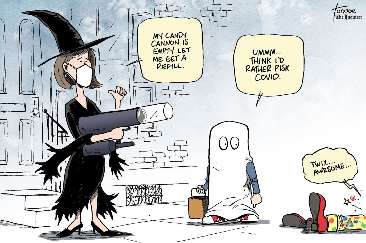 Cartoon: Giving out Halloween candy during a pandemic