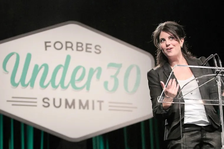 Monica Lewinsky gives a speech at the Forbes Under 30 Summit at the Pa. Convention Center in Philadelphia on October 20, 2014. (DAVID MAIALETTI/Staff Photographer)
