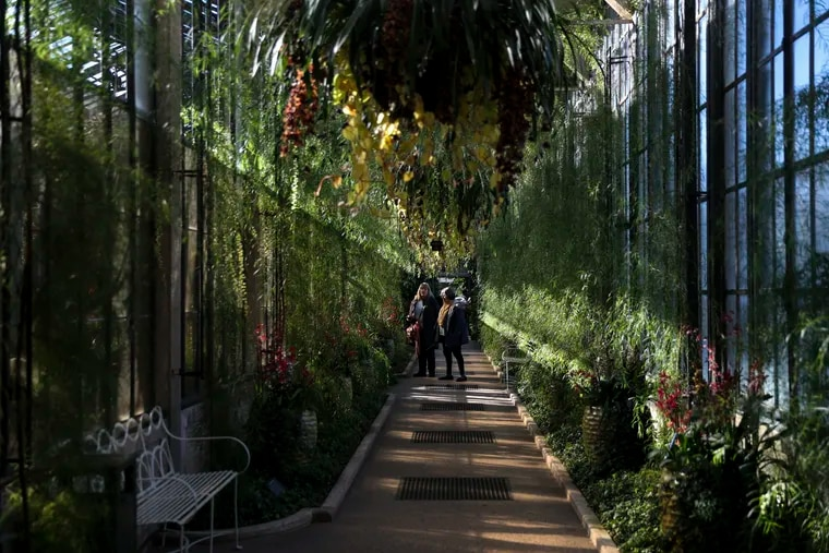 Visitors walk through the Longwood conservatory during the Orchid Extravaganza last year. The gardens had to close for a week after a truck hit the visitors center.